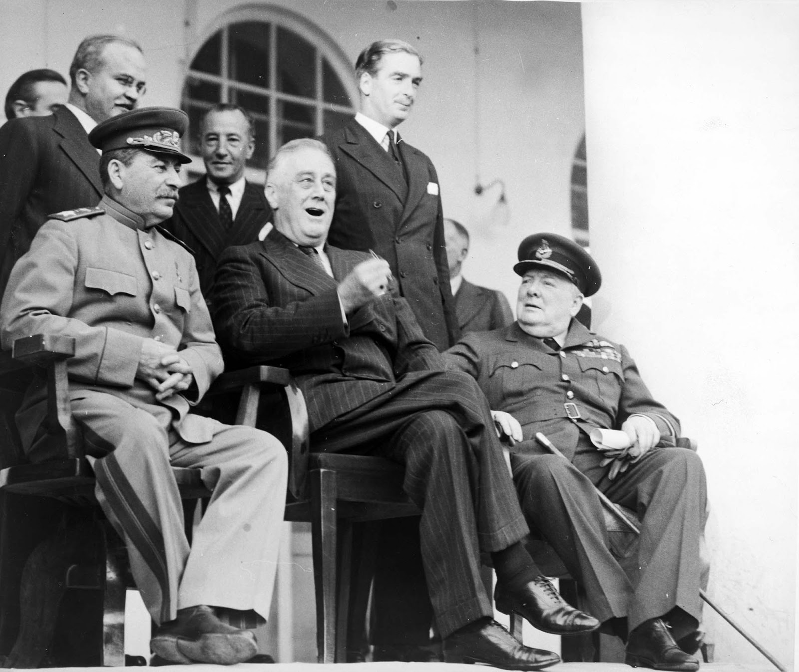 The chairs are different for each of them. Churchill looks more comfortable  on his chair.