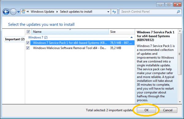 Pilih File Update Yang Tersedia Lalu Klik Ok