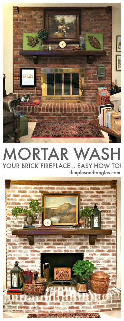 mortar wash tutorial, how to mortar wash, german smear, brick fireplace makeover