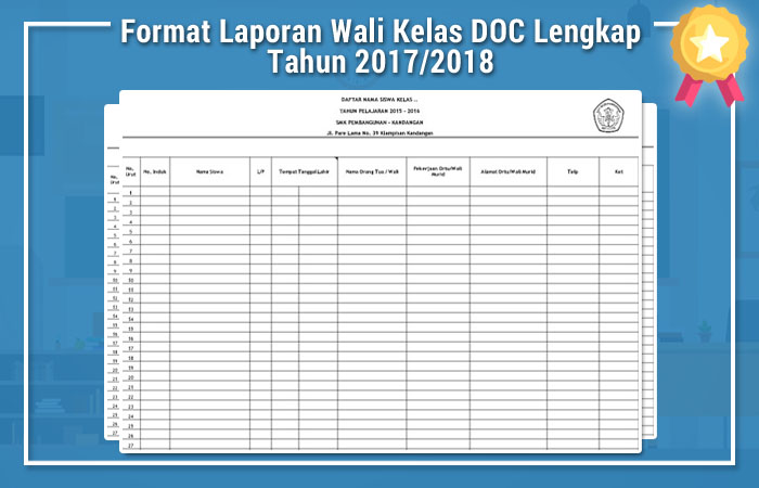 Format Laporan Wali Kelas Doc Lengkap Tahun 2017 2018 Administrasi Guru Kurikulum 2013