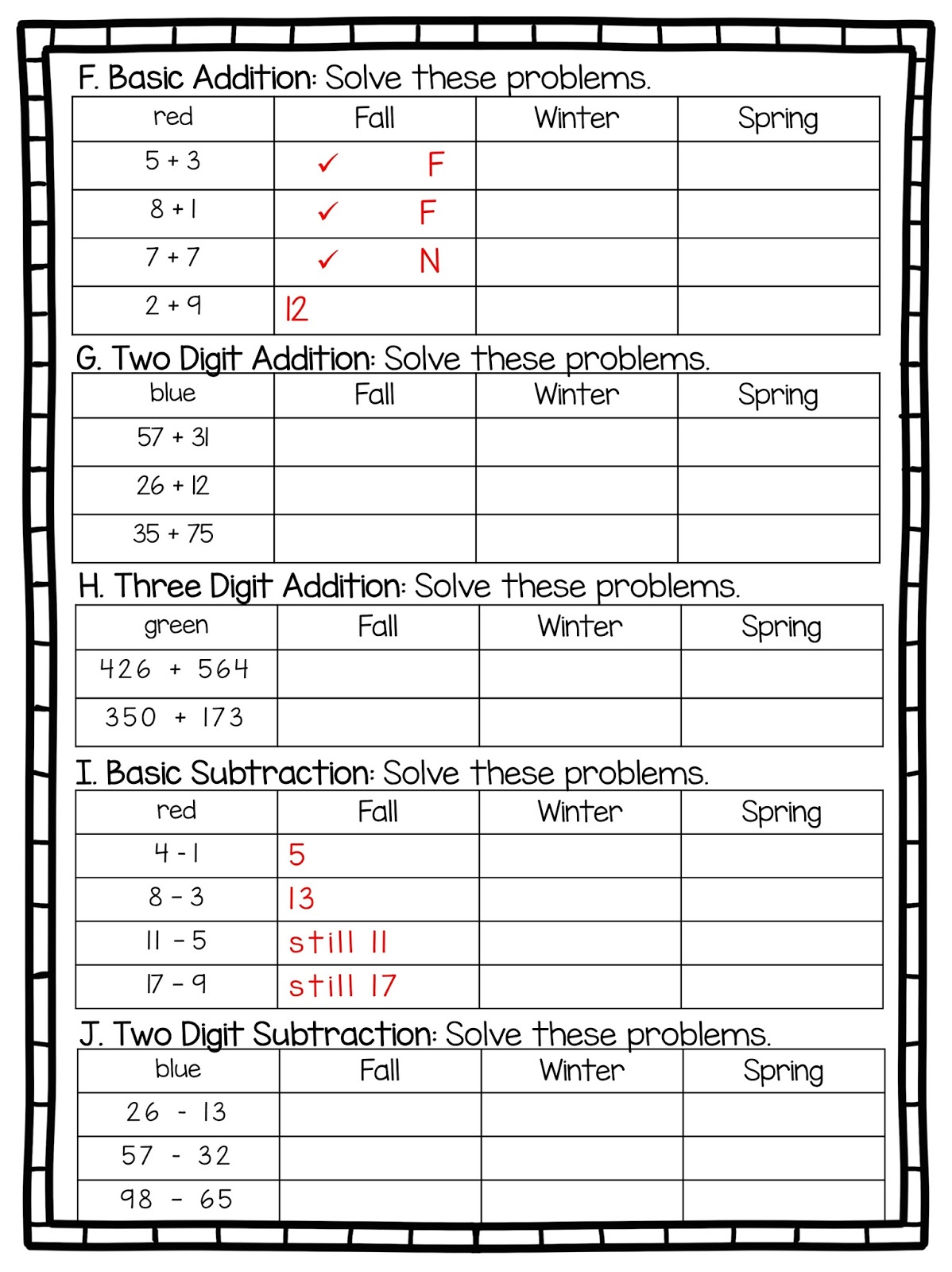 2nd Grade Snickerdoodles Basic Math Assessment Free Amp Editable