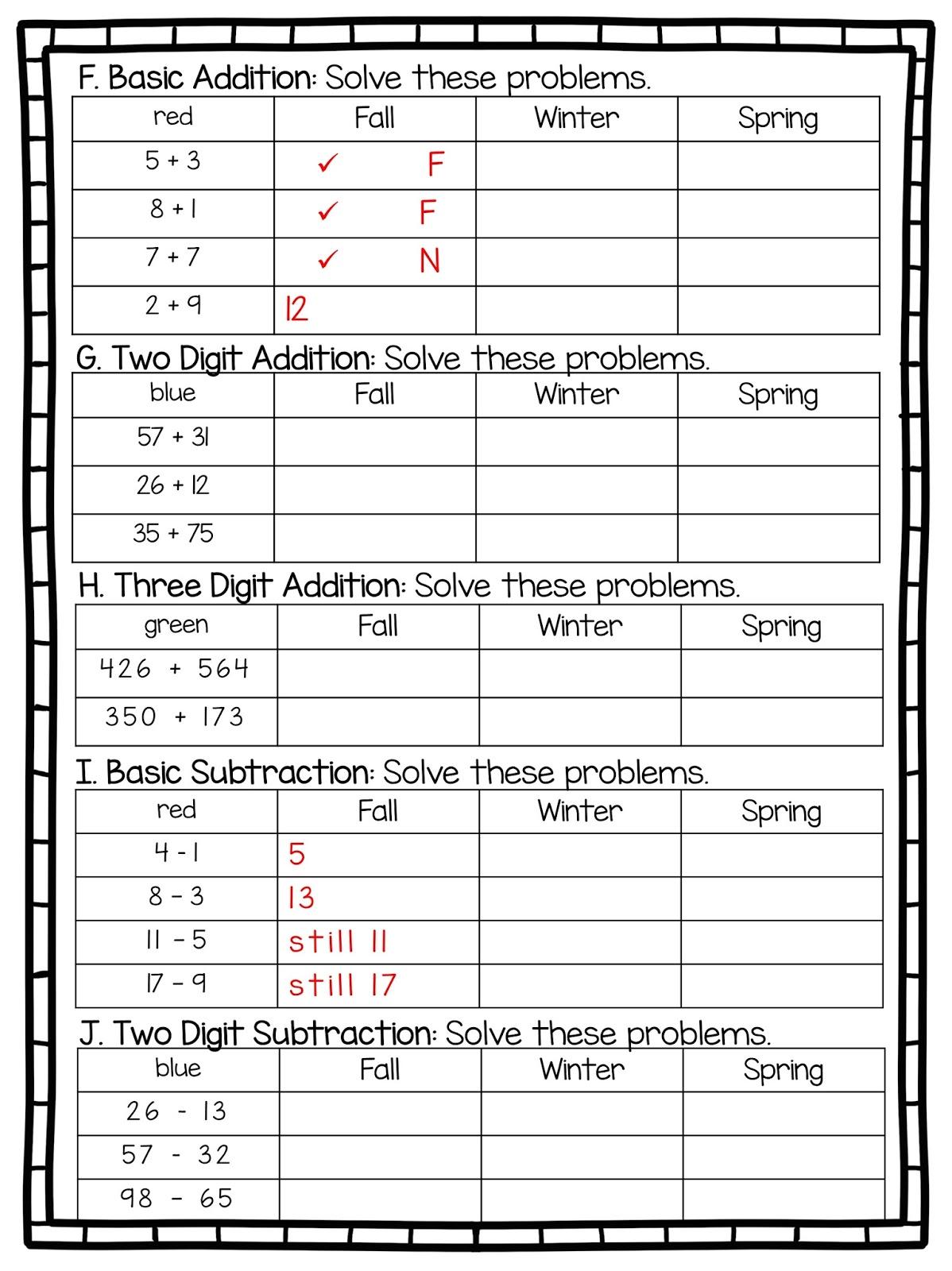2nd Grade Snickerdoodles Basic Math Assessment Free Amp Editable