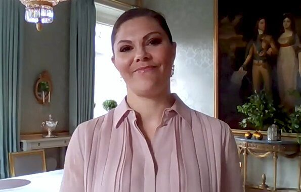 Crown Princess Victoria wore a pink pleated silk shirtdress by Ralph Lauren. Ralph Lauren Maxine pleated silk shirtdress