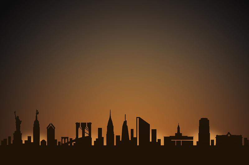 new york city skyline candle holder