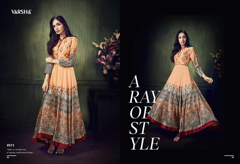 Varsha 511-518 – Printed Stylish Party Wear Gown Buy Online