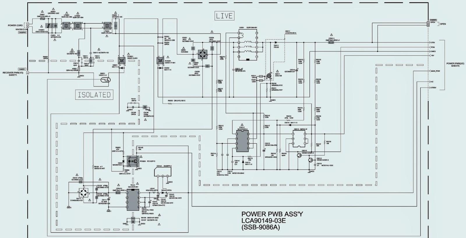 sony tv circuit diagram jvc lt26wx84/t – lcd flat tv – power supply regulator ...