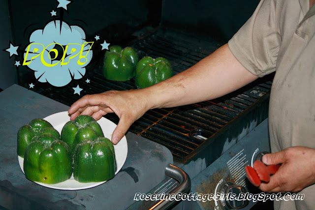 photo of bell peppers being grilled | Stuffed Bell Peppers, fire roasted stuffed bell peppers, stuffed bell pepper recipe, stuffed bells, By Rosevine Cottage Girls | rosevinecottagegirls.com