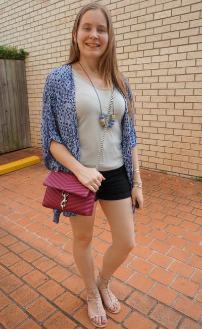 navy kimono with metallic silver tank denim shorts magenta pop of colour edie crossbody bag   awayfromblue