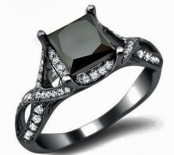 Engagement Rings With Black: Women's Jewelry News: Blue Diamond Engagement Ring Bridal