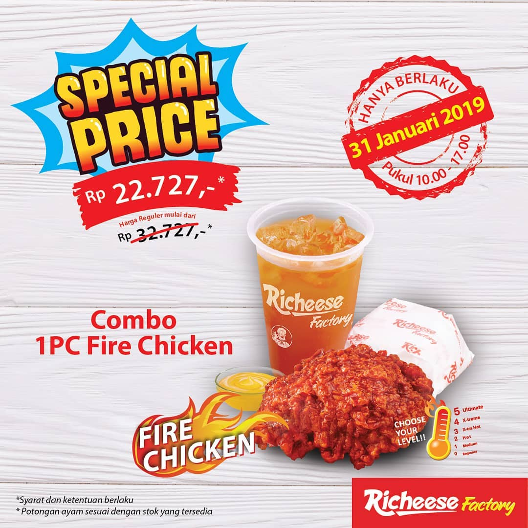 #RicheeseFactory - #Promo Special Price Combo 1pc Fire Chicken Cuma 22 Ribuan (EXTEND)