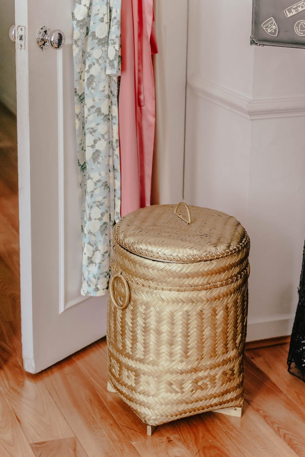 Luxury gold laundry basket