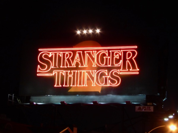 Stranger Things 2 neon sign billboard installation night