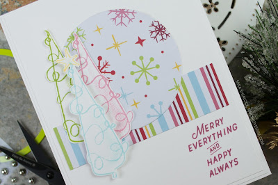 This hand stamped Christmas card has a fun 1950's retro feel, thanks to the bright and cheery colors.  Created using Fun Stampers Journey Merry Everything Stamp Set, and Cozy Winter Prints.