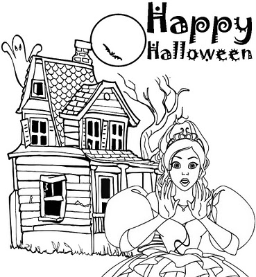 Barbie Halloween Coloring Pages For Kids 4