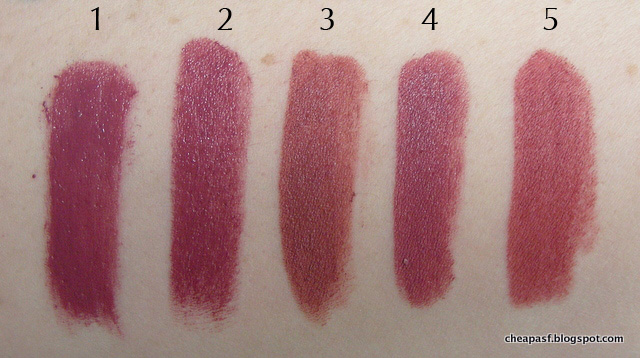 Swatches of 1. Urban Decay Vice Lipstick in Rapture; 2. Urban Decay Revolution Lipstick in Rapture; 3. Bite Beauty Matte Crème Lip Crayon in Glacé; 4. Make Up Forever Artist Rouge Lipstick in C211; and 5. Maybelline Creamy Matte Touch of Spice.