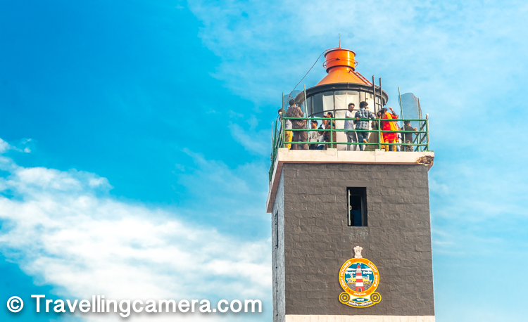 When you reach close to the entry gate of the Lighthouse on Dolphin's Nose hill, there is a ticket counter on the left. Grab a ticket and walk towards the lighthouse though well maintain park with flowers & trees all around. Lighthouse is approximately 400 meters walk from the gate. Above photograph shows the top of Lighthouse on Dolphin's Nose hill in Vizag and yes, people are allowed to go till the top and click photographs of the brilliant views of the ocean, ports & beaches.