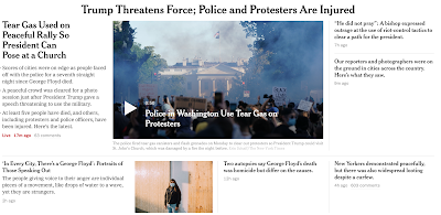 The NYT and The Washington Post choose their narrative: The protests are peaceful, and Trump s reaction — threatening force and posing as religious — is irrational.
