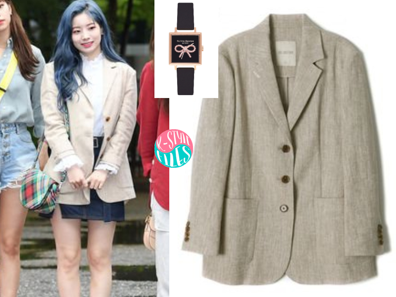 9822c78000ec Dahyun is also wearing 3Button Linen Jacket from COLLABOTORY   Vintage Bow  Square Leather Strap Watch from Olivia Burton.