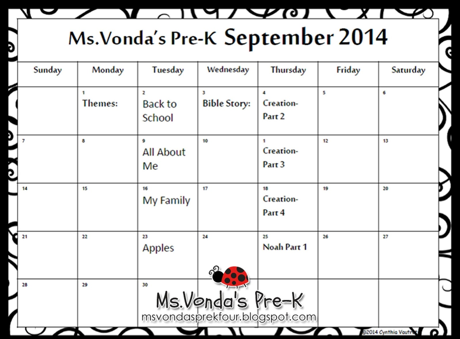 Ms Vonda S Pre K At All God S Children Mdo Preschool Newsletters And Calendars