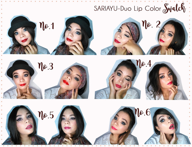 swatch+12+warna+lipstik+Duo+Lip+Color+Sariayu
