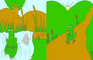 La rana del pantano y la rana del camino