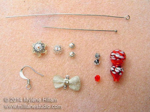 Beads, charms and findings needed to make the Christmas Ornament earrings