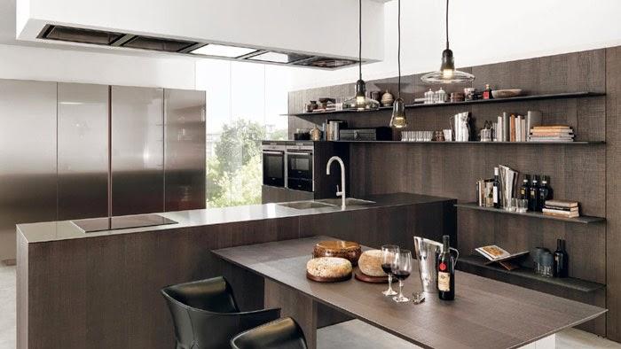 Diseño cocina moderna marrón