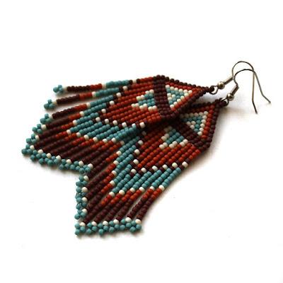 длинные серьги бижутерия купить этнические сережки из бисера