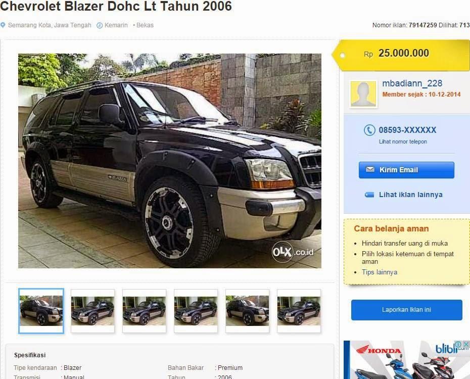 Awas Modus Penipuan Jual Mobil Blazer