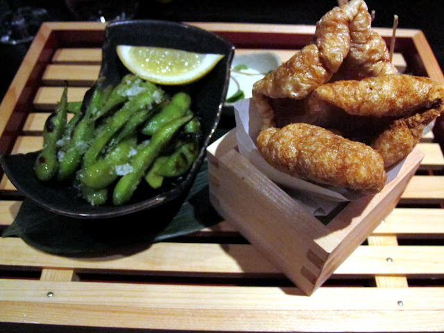 Wabi London edamame beans and pork scratchings