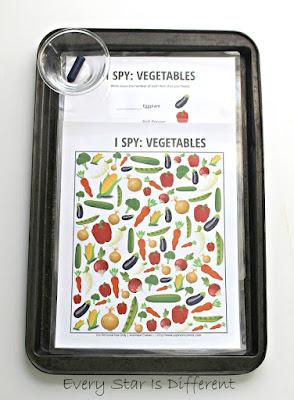I Spy:  Vegetable activity (free printable)