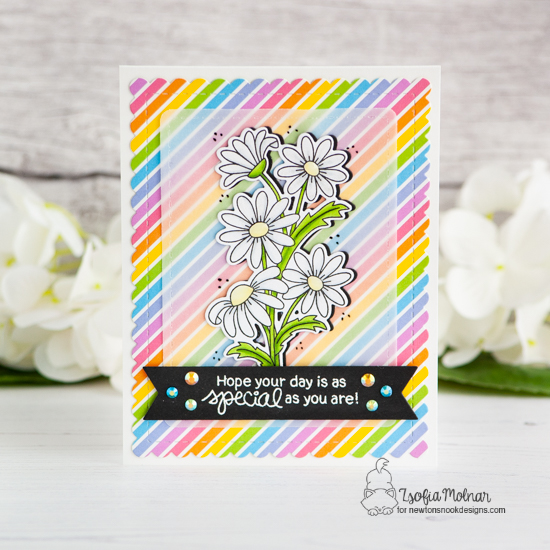 Daisy Card by Zsofia Molnar | Dainty Daisies Stamp Set and Frames & Flags Die Set by Newton's Nook Designs #newtonsnook #handmade
