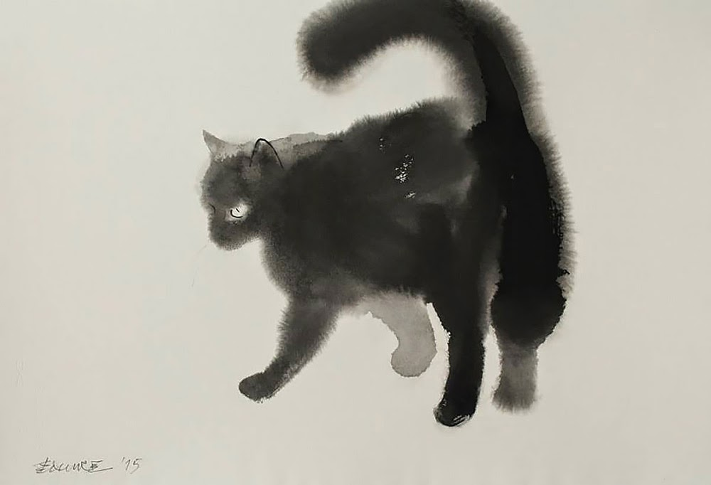 watercolor ink cats endre penovac-7