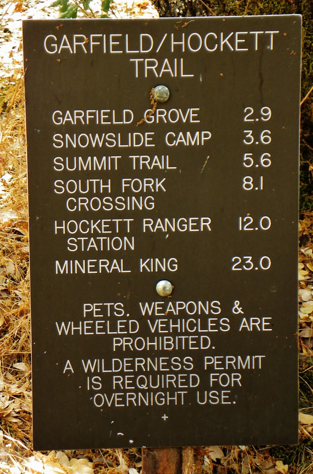 Trail Sign ..South Fork Campground