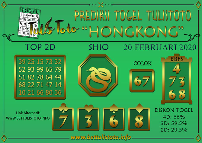 Prediksi Togel HONGKONG TULISTOTO 20 FEBRUARI 2020