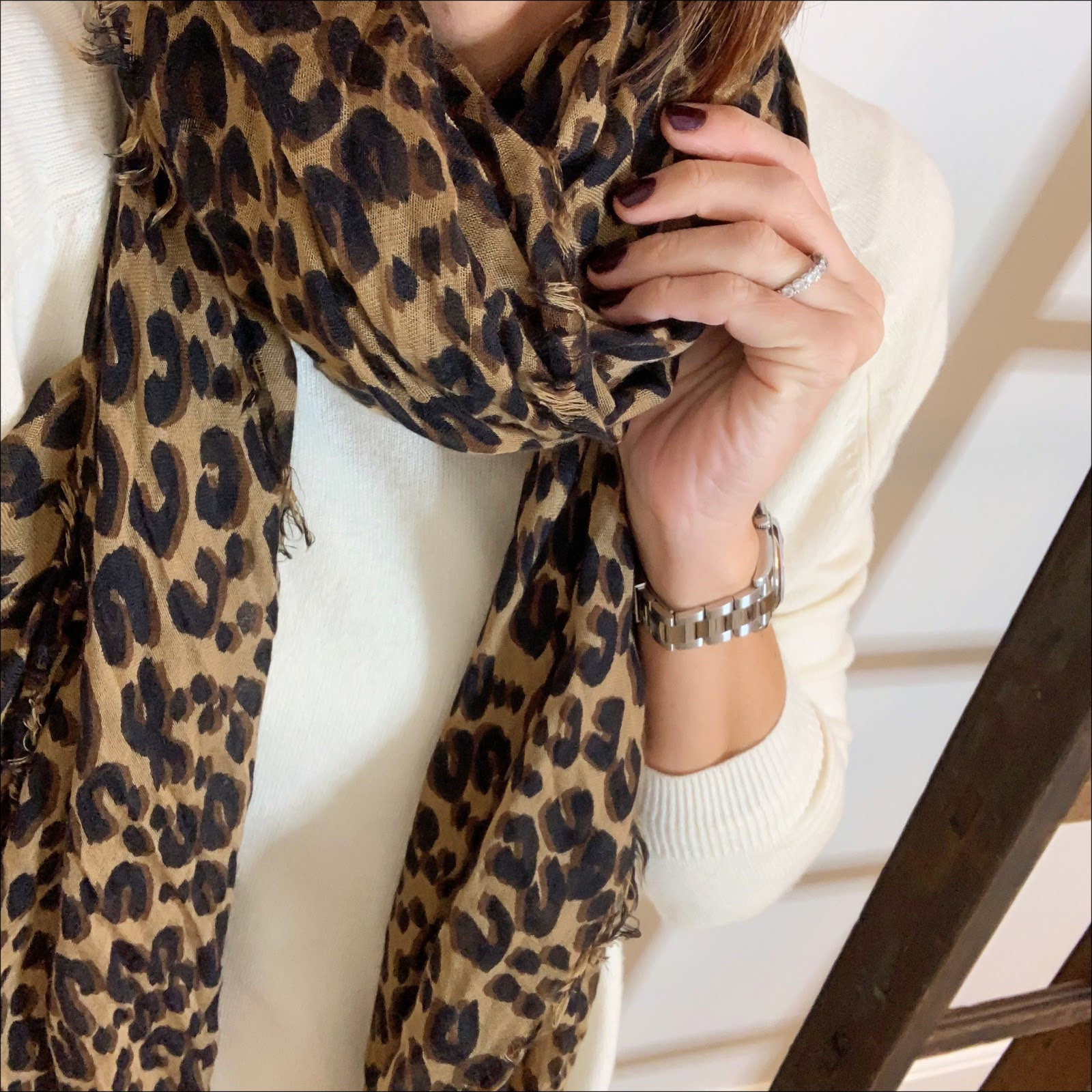 my midlife fashion, louis vuitton leopard shawl, hush boyfriend cashmere jumper, hush biker jeans, chanel quilted handbag, iro suede ankle boots