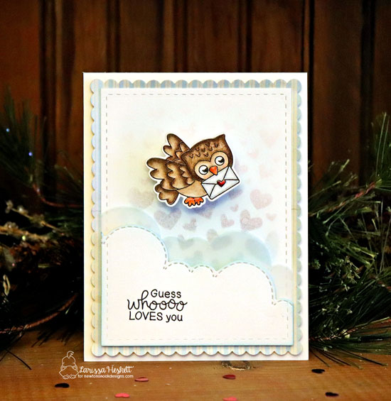 Owl Valentine Card by Larissa Heskett | Love Owl-ways Stamp Set, Tumbling Hearts Stencil and Sky Borders Die Set by Newton's Nook Designs #newtonsnook #handmade