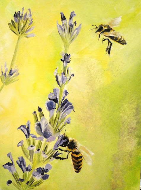 oil painting of bees sipping nectar