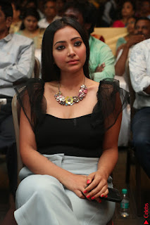 Swetha Basu in a Black Sleeveless Top Long Skirt at Mixture Potlam Movie Audio Launch 073.JPG