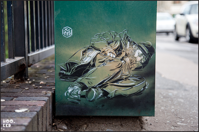 C215 - Shoreditch Street Art stencil work on Paul Street