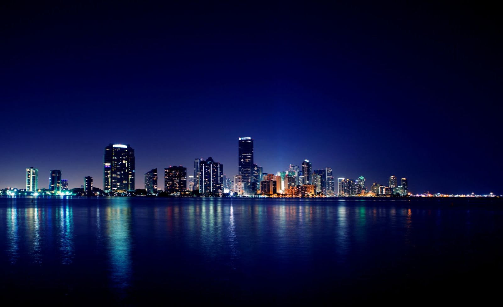 Skyline Miami City At Night Hd Wallpaper My Sims 3 Downloads