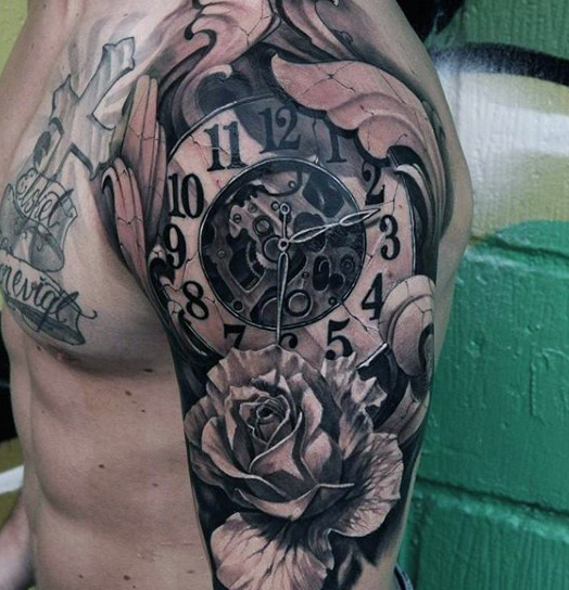 Half Sleeve Clock Tattoo Design For Men