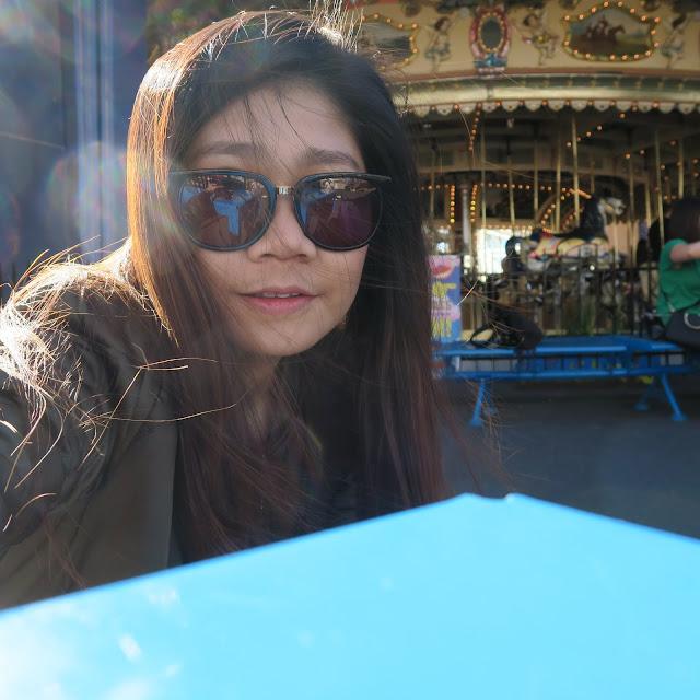 selfie, inside luna park, St Kilda's beach, Melbourne