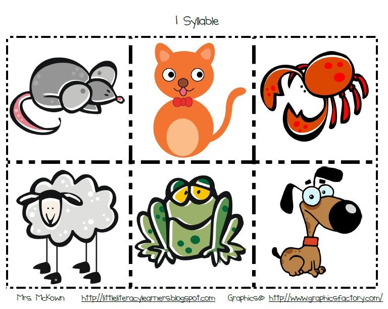 Premise Indicator Words: Little Literacy Learners: Animal Syllable Cards