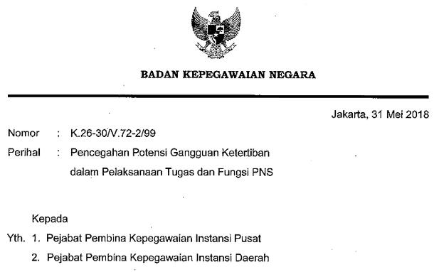 Surat Kepala BKN Nomor K.26-30/V.72-2/99 Perihal Pencegahan Potensi Gangguan Ketertiban dalam Pelaksanaan Tugas dan Fungsi PNS