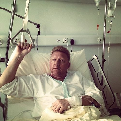 Boris Becker greets from hospital bed