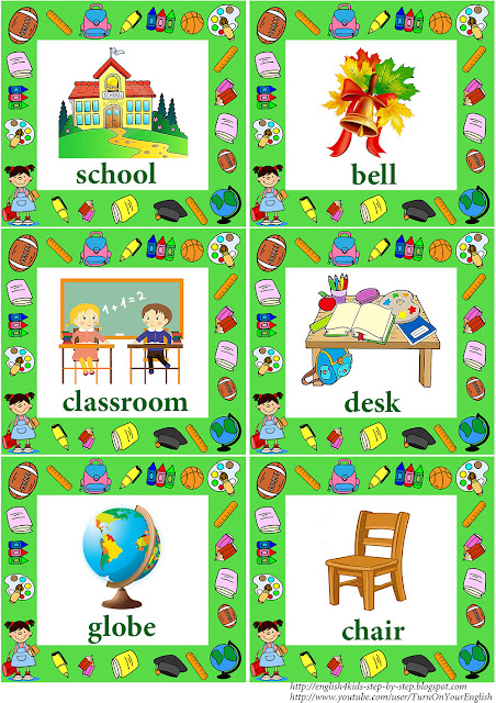 school vocabulary flashcards with words for little english learners