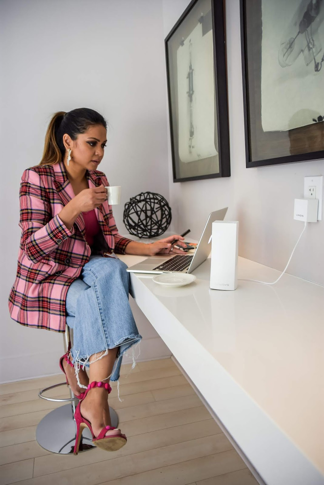 how to say productive when working from home, work from home blogger mom, fashion, plaid jacket, flower earrings bauble bar, style at home, tips to staying productive when at home, lifestyle blog, dc blogger, myriad musings