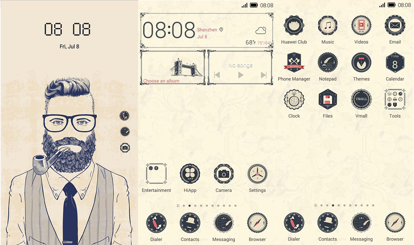 retro hipster theme for emui 4 0 4 1 huawei themes