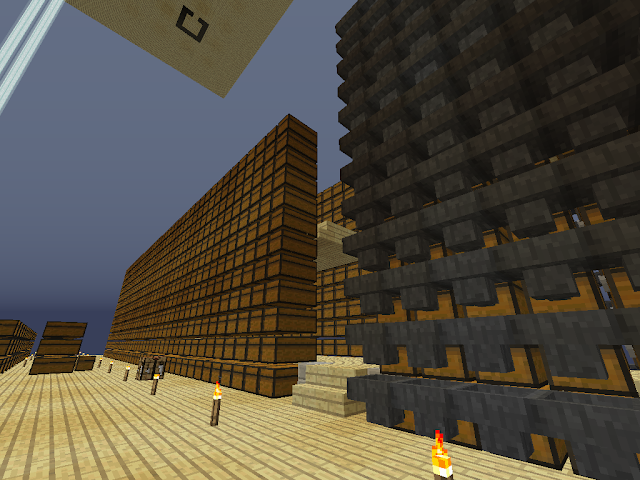 Opslag in het computerspel Minecraft, met rijen kisten.
